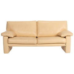Erpo Leather Sofa Beige Two-Seat Couch