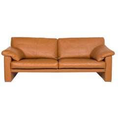 Erpo Leather Sofa Cognac Brown Two-Seat Couch