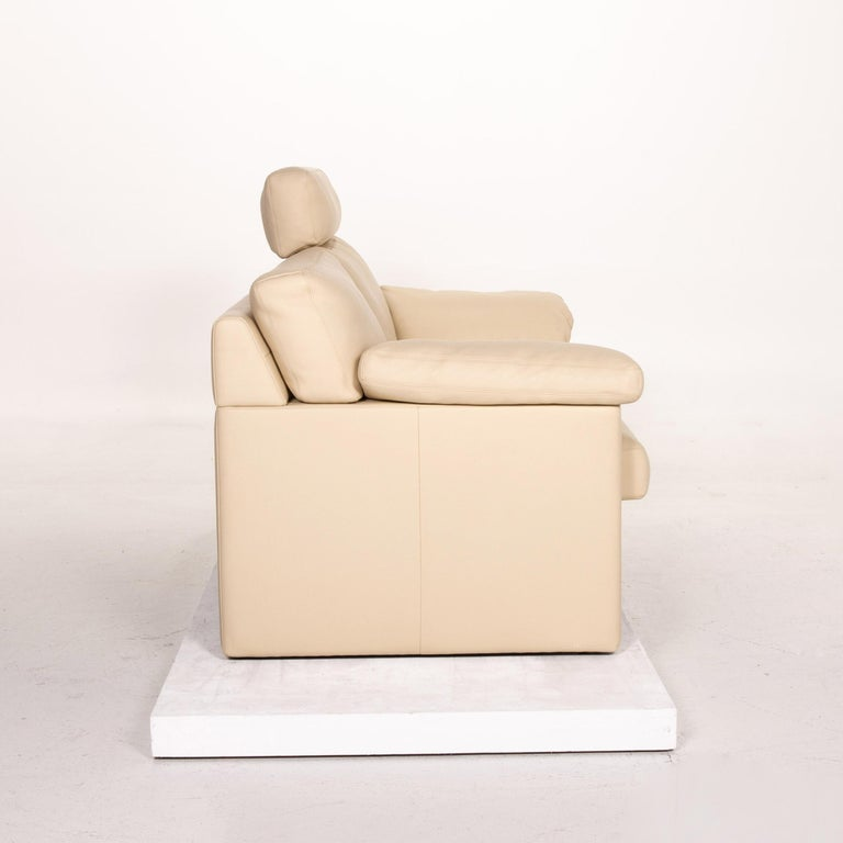 Erpo Leather Sofa Cream Two-Seat Function Couch 4