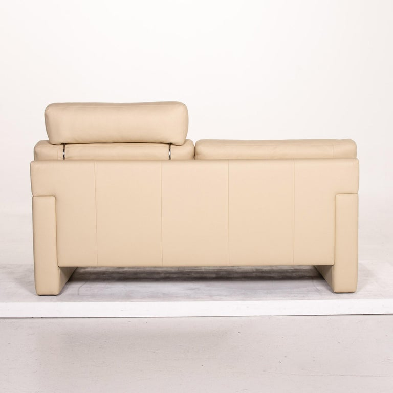 Erpo Leather Sofa Cream Two-Seat Function Couch 5