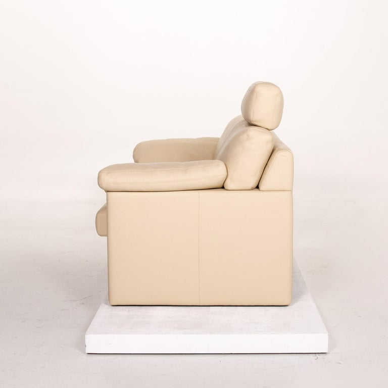 Erpo Leather Sofa Cream Two-Seat Function Couch 6