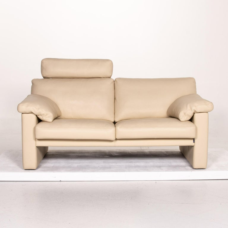 Modern Erpo Leather Sofa Cream Two-Seat Function Couch
