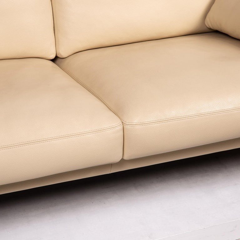 German Erpo Leather Sofa Cream Two-Seat Function Couch