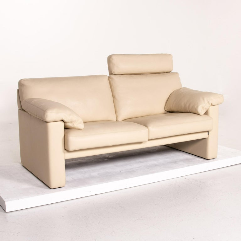 Erpo Leather Sofa Cream Two-Seat Function Couch 2