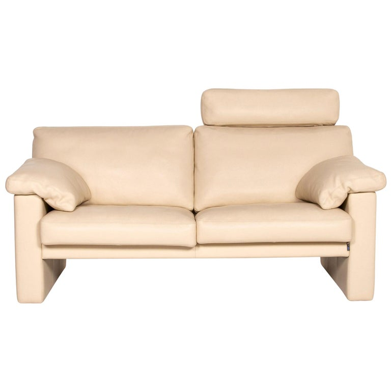 Erpo Leather Sofa Cream Two-Seat Function Couch