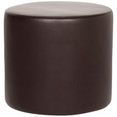 Erpo Leather Stool Brown Round