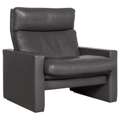 Erpo Manhattan Designer Leather Armchair Anthracite Gray Genuine Leather