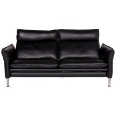 Erpo Porto Leather Sofa Black Two-Seat Relax Function Couch