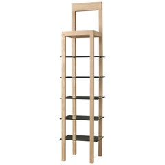 Errante, Contemporary Bookcase in Ashwood with Glass Shelves