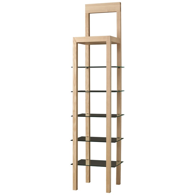 Errante, Contemporary Bookcase in Ashwood with Glass Shelves For Sale
