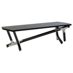 Modern Industrial Black Mahogany Wood Bench with Metal Brackets