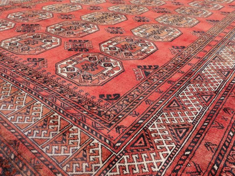 Ersari Rug Large Size Tribal Turkoman Hand Knotted Semi Antique Carpet For Sale 7