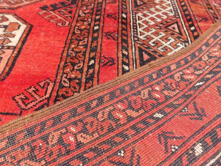 Ersari Rug Large Size Tribal Turkoman Hand Knotted Semi Antique Carpet For Sale 10