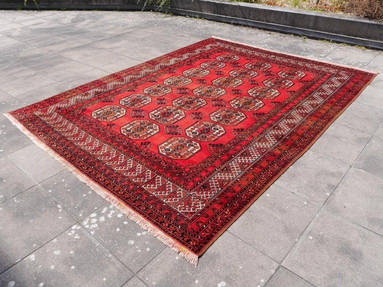 Afghan Ersari Rug Large Size Tribal Turkoman Hand Knotted Semi Antique Carpet For Sale