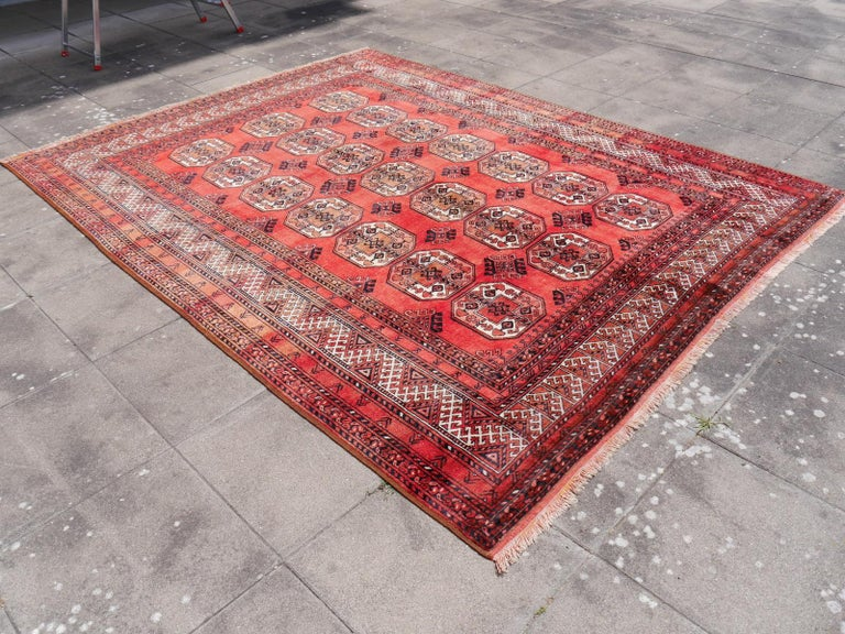 Hand-Knotted Ersari Rug Large Size Tribal Turkoman Hand Knotted Semi Antique Carpet For Sale