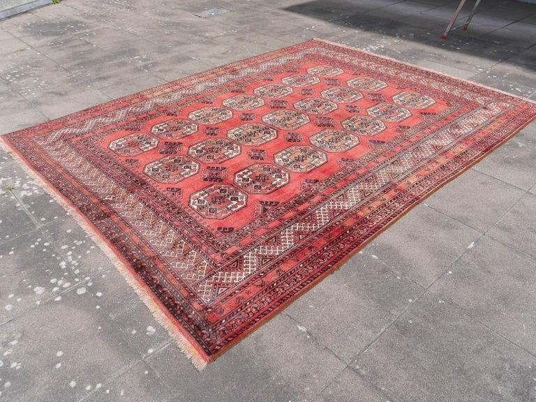 Ersari Rug Large Size Tribal Turkoman Hand Knotted Semi Antique Carpet In Good Condition For Sale In Lohr, Bavaria, DE