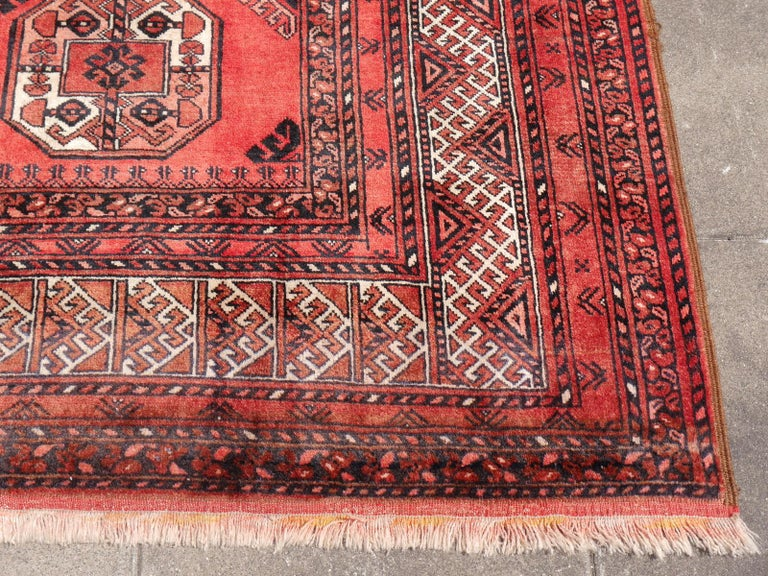 20th Century Ersari Rug Large Size Tribal Turkoman Hand Knotted Semi Antique Carpet For Sale