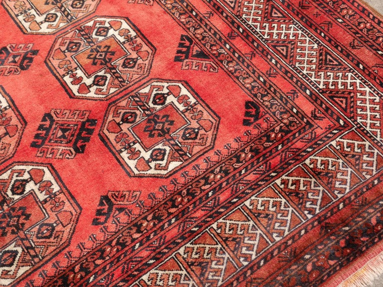 Wool Ersari Rug Large Size Tribal Turkoman Hand Knotted Semi Antique Carpet For Sale