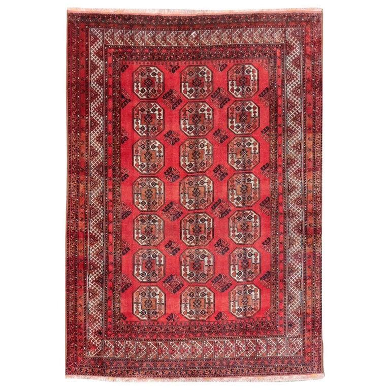 Ersari Rug Large Size Tribal Turkoman Hand Knotted Semi Antique Carpet For Sale