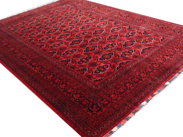 Afghan Ersari Rug Large Tribal Turkoman Hand Knotted Semi Antique Carpet Red For Sale
