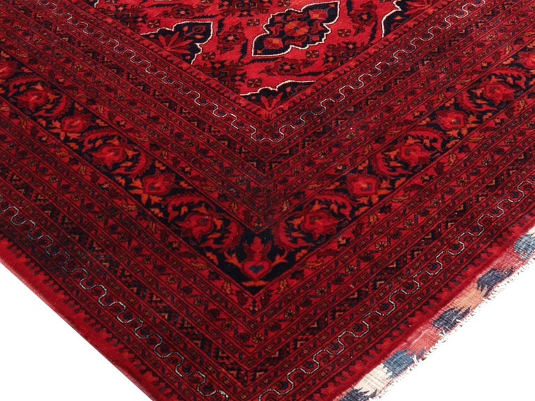 Hand-Knotted Ersari Rug Large Tribal Turkoman Hand Knotted Semi Antique Carpet Red For Sale