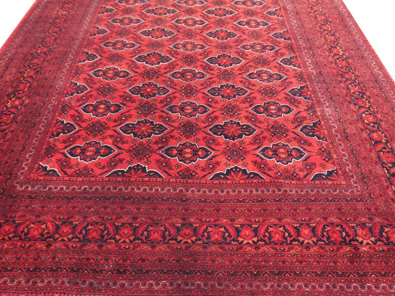 Ersari Rug Large Tribal Turkoman Hand Knotted Semi Antique Carpet Red In Good Condition For Sale In Lohr, Bavaria, DE