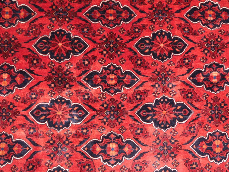 Late 20th Century Ersari Rug Large Tribal Turkoman Hand Knotted Semi Antique Carpet Red For Sale