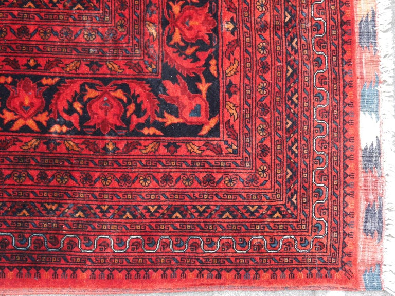 Wool Ersari Rug Large Tribal Turkoman Hand Knotted Semi Antique Carpet Red For Sale