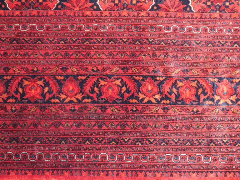 Ersari Rug Large Tribal Turkoman Hand Knotted Semi Antique Carpet Red For Sale 1