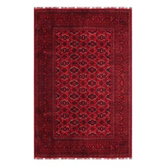 Ersari Rug Large Tribal Turkoman Hand Knotted Semi Antique Carpet Red