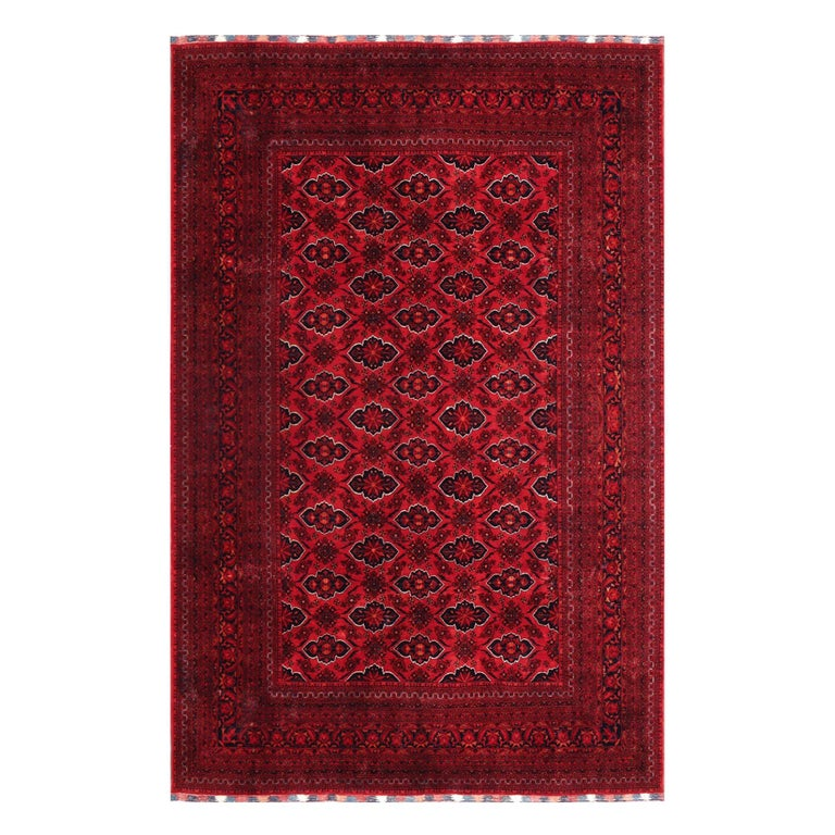 Ersari Rug Large Tribal Turkoman Hand Knotted Semi Antique Carpet Red For Sale
