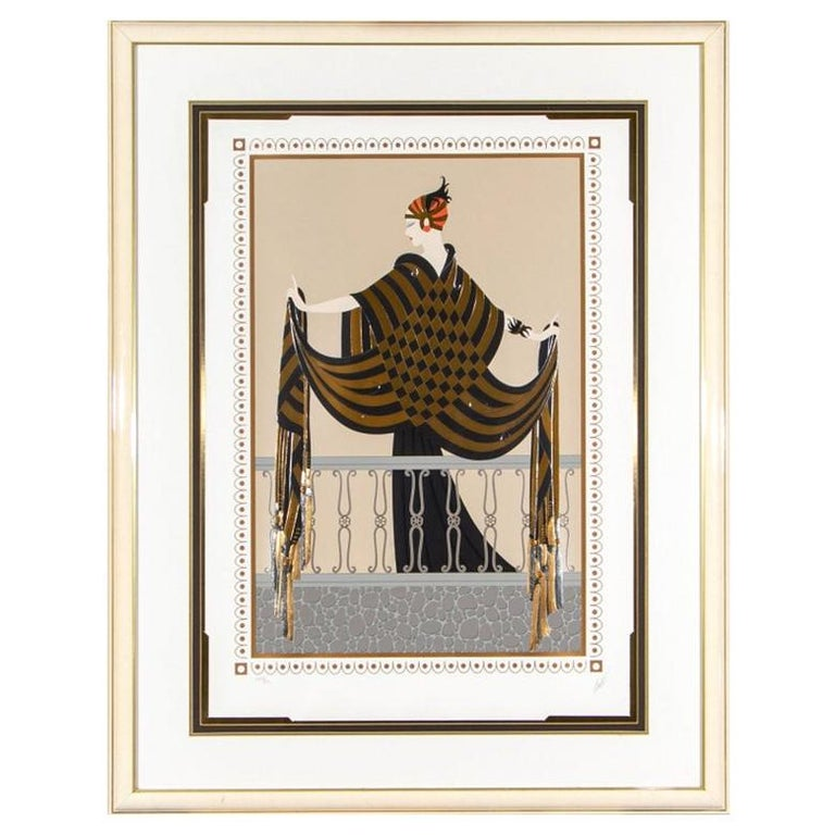 """Erté '1892-1990' Limited Edition Color 1989 Serigraph, """"The Balcony"""" For Sale"""