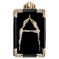 Circle Fine Art .30 Carat Diamond Onyx Yellow Gold Dancer Letter A Brooch