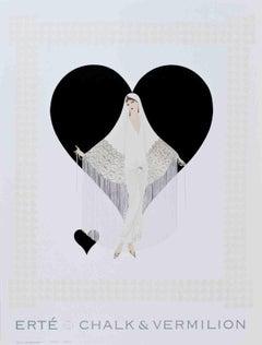 1993 After Erte 'Fringe Gown' Art Deco Black & White,Multicolor,Gray USA Offset