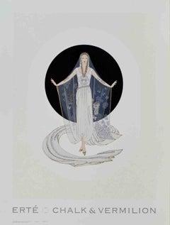 1993 After Erte 'Veil Gown' Art Deco Gray,Black & White USA Offset Lithograph