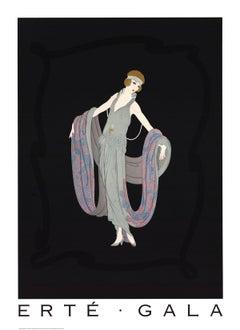 1995 Erte 'Gala' Art Deco Multicolor,Gray,Black USA Offset Lithograph