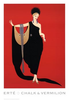 1997 After Erte 'Glamour' Art Deco Black,Red,Multicolor USA Offset Lithograph