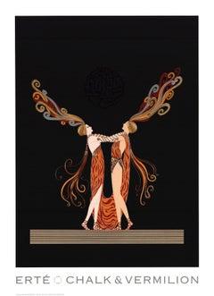 1994 Erte 'Kiss of Fire' Art Deco Black,Orange USA Offset Lithograph