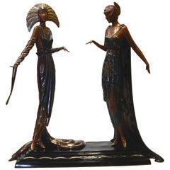 Erte Art Deco Bronze Sculpture 1990, Two Vamps