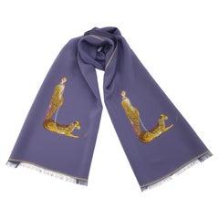 Erté Art Deco Lady & Leopard Silk Scarf