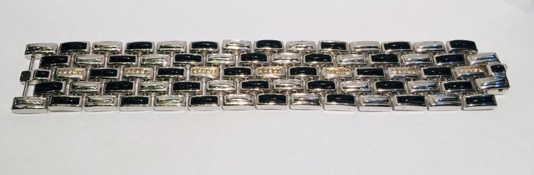 Erte Art Deco Onyx, 14 Karat Gold Diamond Multi Link Sterling Silver Bracelet For Sale 5