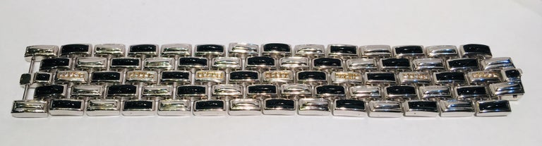 Erte Art Deco Onyx, 14 Karat Gold Diamond Multi Link Sterling Silver Bracelet For Sale 6