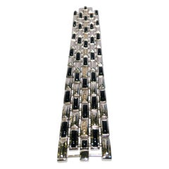 Erte Art Deco Onyx, 14 Karat Gold Diamant Sterling Silber Gliederarmband