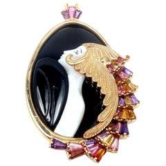 Erte Beauty of the Beast Diamond Onyx Amethyst Yellow Gold Pendant Necklace