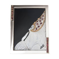 Erte Beloved Gold Silver and Gem Set Brooch