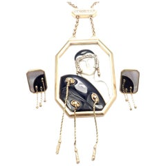 Erté Folies Diamond Onyx Mother of Pearl Yellow Gold Necklace and Earrings Set