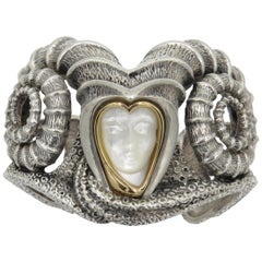 Erte La Courbe Bracelet Carved Mother of Pearl Gold and Silver Sterling