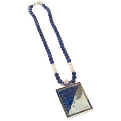 Erte Lapis Silver and Pearl Beloved Necklace Brooch