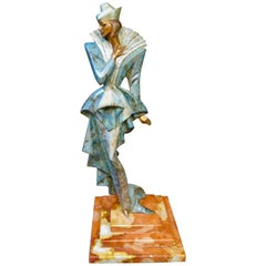 Erte Like Fashionable Woman Austrian Bronze