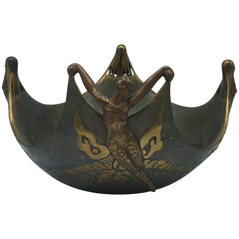 """Erté """"Ocean Bowl"""" Bronze Sculpture For Sale"""
